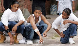 Namond (Julito McCullum), Michael Lee (Tristan Wilds), and Randy (Maestro Harrell) in The Wire.