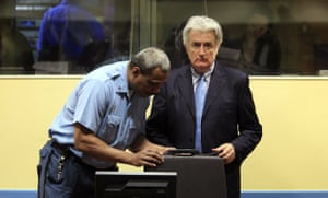 Radovan Karadzic: Radovan Karadzic in the Hague before he appeared in court in