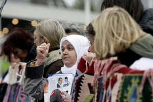 Radovan Karadzic: Bosnian women protest at the start of the Karadzic's trial