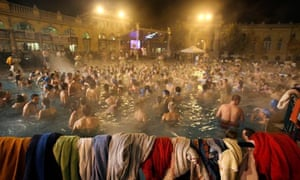 Budapest, Hungary: People participate in the Climate Bath for 350.org