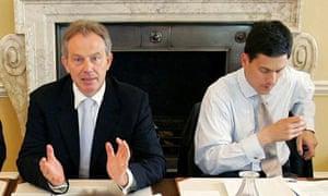 Tony Blair and David Miliband at 10 Downing Street in 2006.