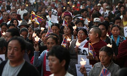 Tibetans-in-exile in Kathmandu march against China for sentencing protesters to death.