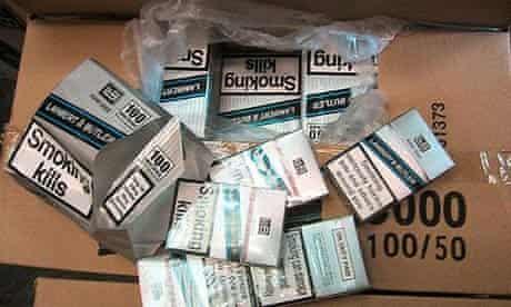 Boxes of smuggled cigarettes