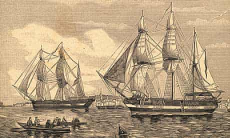An engraving, circa 1844, of HMS Erebus and HMS Terror, the two ships used by Sir John Franklin