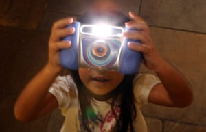 Top toys: Charlize, 8, plays with the Kidizoom Multimedia Digital Camera