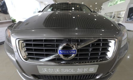 A Volvo S80L car on display at a Volvo showroom in Beijing, China.