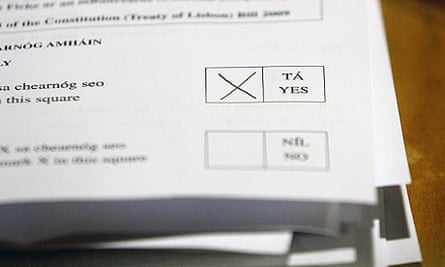 A yes vote is registered in the Lisbon treaty referendum in Ireland
