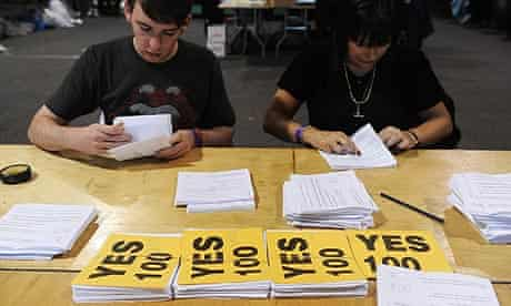Lisbon treaty votes being counted in Dublin, Ireland