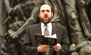 Michael Schudrich in front of Warsaw's ghetto monument in 1998.