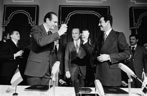 Jacques Chirac: 1974: French prime minister Jacques Chirac and president Saddam Hussein