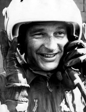 Jacques Chirac: 1975: Jacques Chirac lifts his helmet after riding in a fighter plane