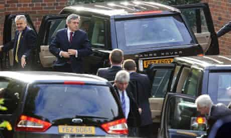 Prime Minister Gordon Brown arrives at Stormont in Belfast