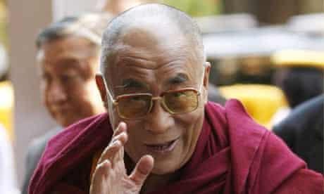 The Dalai Lama arrives at his hotel in Washington