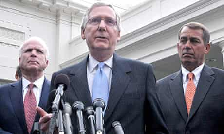 John McCain, Mitch McConnell and John Boehner after the meeting with Barack Obama