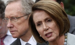 Harry Reid and Nancy Pelosi after President Obama's White House roundtable 06/10/09