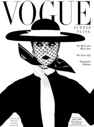 Irving Penn: The April 1950 cover of Vogue with model Jean Patchett by Irving Penn