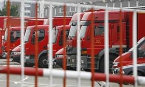 Royal Mail vans in east London.