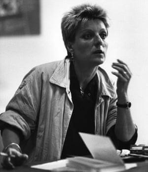 Herta Muller: Herta Mueller sitting at a desk in 1988