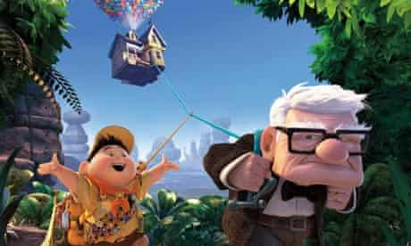 Up film still of old man pulling his house through the air