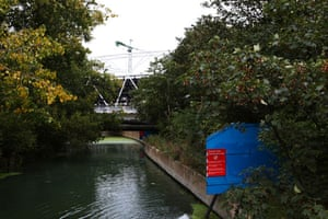 River Lee: Near the 2012 Olympic park construction site, Stratford