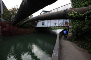 River Lee: The Northern Outfall Sewer and towpath at Old Ford Lock, Bow in east London