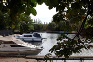 River Lee: Boats moored at Rye Meads, Hertfordshire
