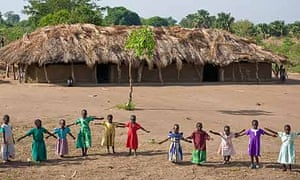 Morning exercises at Ojom community primary school, Katine