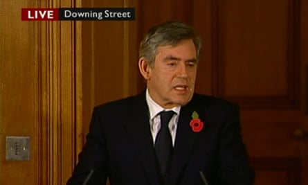 Prime Minister Gordon Brown speaks at his monthly news conference in Downing Street.