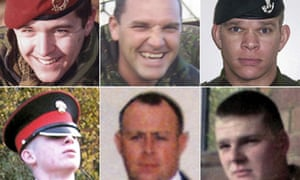 The six British soldiers whose bodies were flown home from Afghanistan