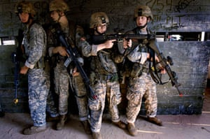 American soldier: training drill four-man stack