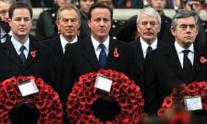 Nick Clegg, Tony Blair, David Cameron, John Major and Gordon Brown at the Cenotaph in London