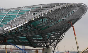 Aquatic centre roof structure designed by Zaha Hadid