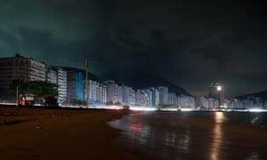 Copacabana beach during Rio de Janeiro blackout