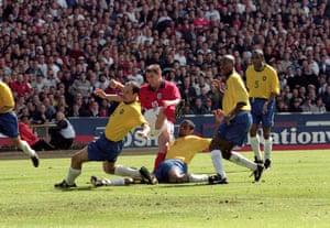 England v Brazil: Michael Owen scores