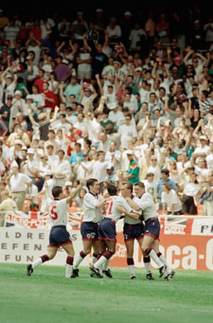 england v brazil: 1993 - England players celebrate David Platt's goal in the US Cup