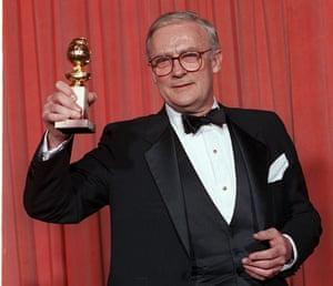 Edward Woodward obit: 1987: Edward Woodward with Golden Globe award