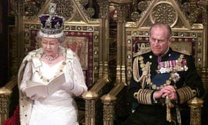 The Queen and Prince Philip at the Queen's speech in 2000.