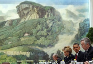 obama in china: Barack Obama at a meeting with Chinese President Hu Jintao in Beijing