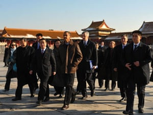 obama in china: Barack Obama  takes part in a tour of the Forbidden City
