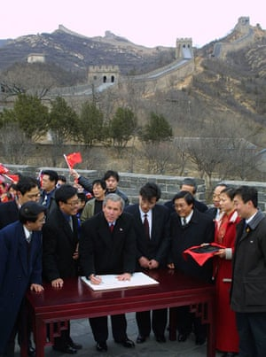 presidents at great wall: president george w.bush at the great wall of china