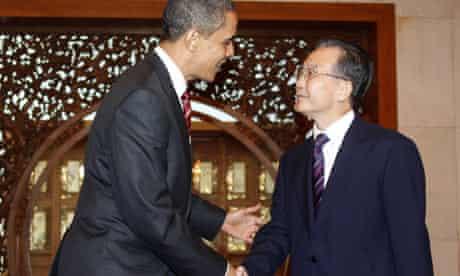 Barack Obama and Chinese premier Wen Jiabao