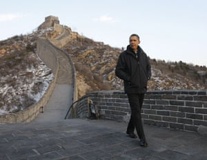 obama in china: U.S. President Obama tours the Great Wall of China