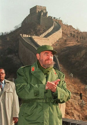 Leaders at the Great Wall: December 2005: Fidel Castro warms his hands in freezing temperatures