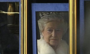 Queen Elizabeth II leaves Buckingham Palace to attend the State Opening of Parliament.