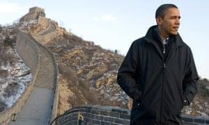 Barack Obama on the Great Wall of China at Badaling