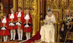 Queen Elizabeth II reads out the Queen's Speech at the House of Lords