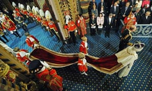 Queen Elizabeth II and Prince Philip after the State Opening of Parliament.
