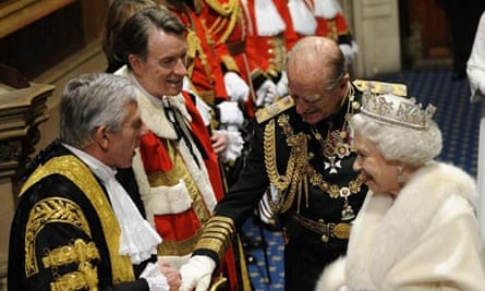 Jack Straw and Lord Mandelson greet the Queen and Prince Philip at the state opening of parliament
