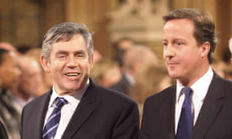 Gordon Brown and David Cameron at the state opening of parliament on 18 November 2009.