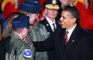 Obama in Asia: President Barack Obama arrives at a US military airbase in Osan South Korea